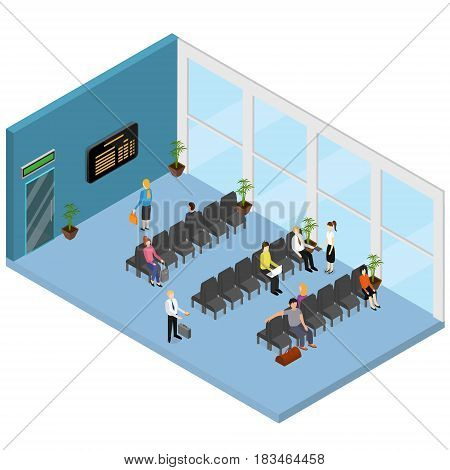 Waiting Hall Interior Isometric View for Airport, Office, Clinic or Station witch People and Furniture. Vector illustration