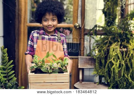 Little Boy Standing Carry in Small Plants in Wooden Tray