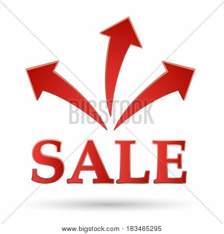 The red Badge of sales. Fireworks discounts.  Sale the text - color vector icon.