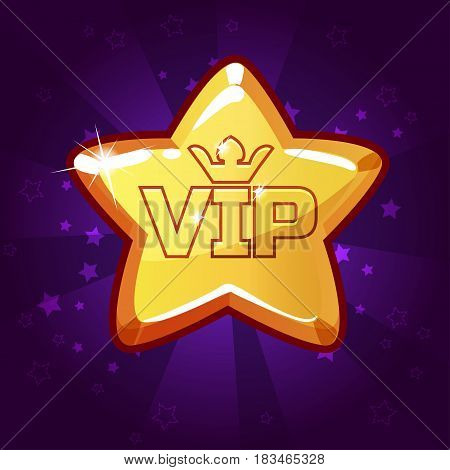 Cartoon vector VIP Gold star, background glow, set 8