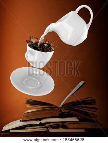 Milk being poured into small cup of coffee. 3d rendering