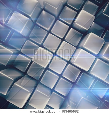 Abstract background of cubes in gray toned. 3d rendering