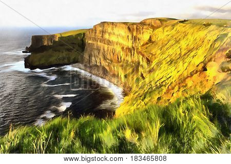 Colorful landscape painting of cliffs of Moher, Clare county, Ireland