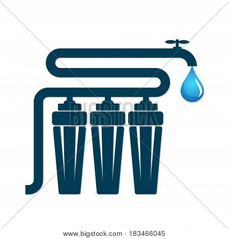 Filters for water are strong. A tap and a drop of water.
