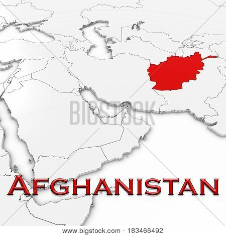 3D Map Of Afghanistan With Country Name Highlighted Red On White Background 3D Illustration