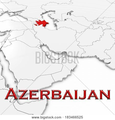 3D Map Of Azerbaijan With Country Name Highlighted Red On White Background 3D Illustration