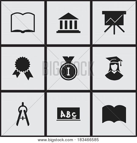 Set Of 9 Editable Education Icons. Includes Symbols Such As Dictionary, Museum, Chart Board And More. Can Be Used For Web, Mobile, UI And Infographic Design.