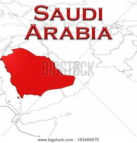 3D Map Of Saudi Arabia With Country Name Highlighted Red On White Background 3D Illustration