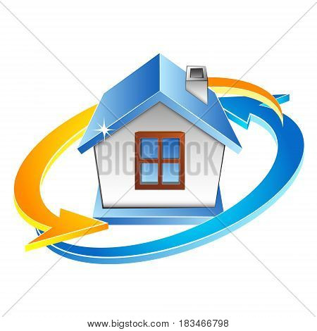 House air conditioning and ventilation symbol. Red and blue arrow vector.