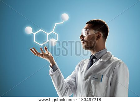 science, chemistry, biology, medicine and people concept - male doctor or scientist in white coat and safety glasses with molecular formula projection over blue background