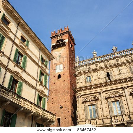 View of the belltower in Piazza delle Erbe Verona