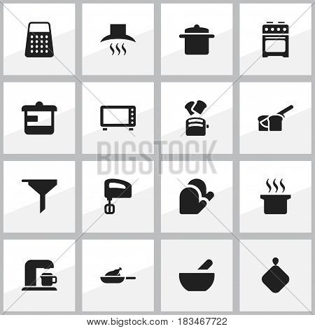 Set Of 16 Editable Cooking Icons. Includes Symbols Such As Shredder, Soup Pot, Kitchen Hood And More. Can Be Used For Web, Mobile, UI And Infographic Design.