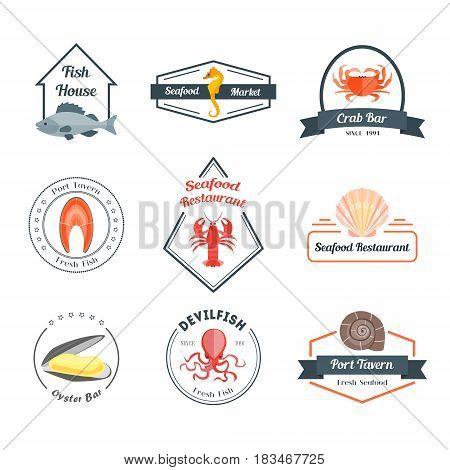 Seafood Badges or Labels Set for a Bar, Restaurant, Tavern or House. Flat Design Style. Vector illustration