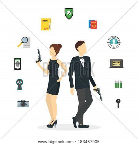 Cartoon Spy Couple and Icons Set Agents with Guns Detective and Protect Service. Vector illustration