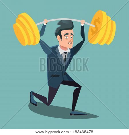 Happy Businessman Lifting Up Barbell with Dollar Sign. Vector cartoon illustration