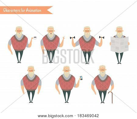 Grandfather character for scenes. Funny Old Man cartoon.