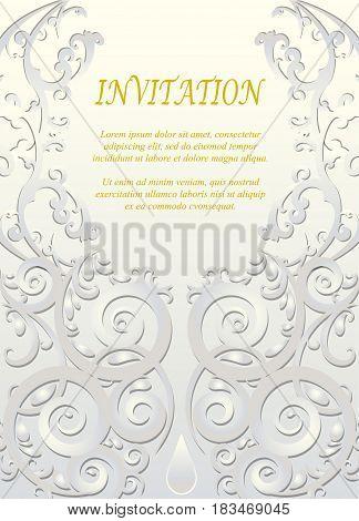 Invitation card wedding card with ornamental on ivory background
