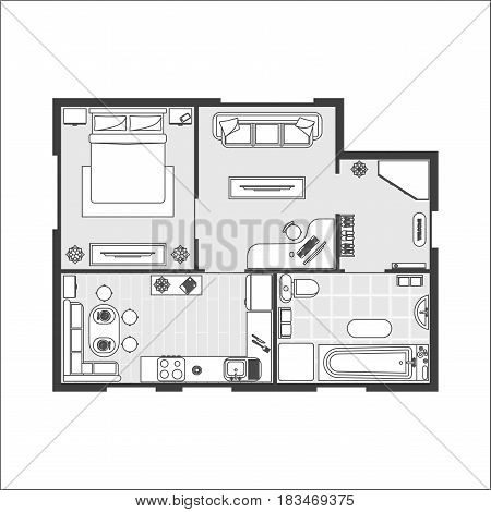 Apartment Plan witch Furniture Thin Line Scheme of Floor Interior Design Set Top View. Vector illustration
