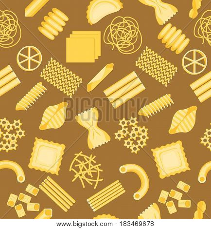 Pasta Pattern Background on a Brown Different Shapes Assortment for Your Food Business. Vector illustration of Penne, Fusilli, Spaghetti