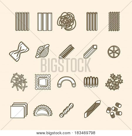 Pasta Thin Line Icons Set Isolated on Background. Different Shapes Assortment Ready for Your Business. Vector illustration