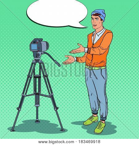Stylish Guy Blogger Recording Video Vlog. Pop Art vector illustration
