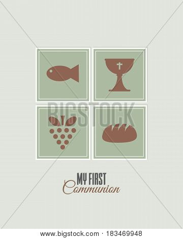 my first communion invitation. Elegant card with religious icons