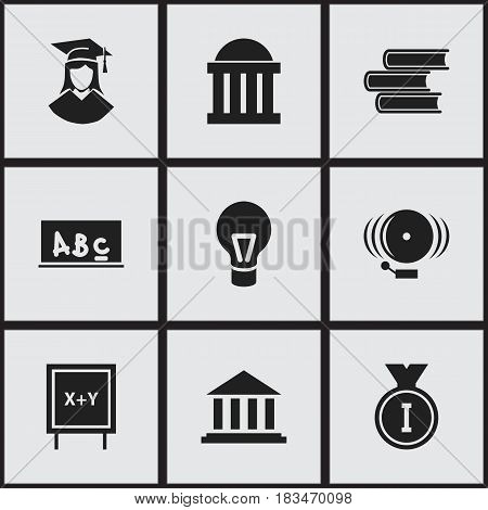 Set Of 9 Editable Graduation Icons. Includes Symbols Such As Lamp, Museum, Library And More. Can Be Used For Web, Mobile, UI And Infographic Design.