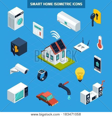 Smart home icons set on blue background isometric isolated vector illustration