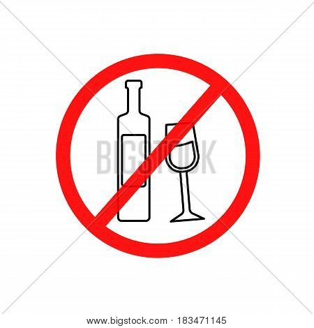 Simple vector illustration of a prohibitory sign drinking a spirits a flat line icon.