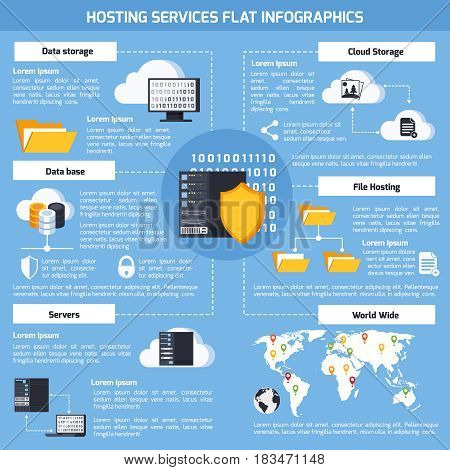 Hosting services infographic set with data and cloud storage symbols flat vector illustration