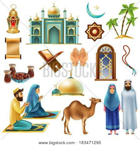 Ramadan muslims holy month religious symbols traditional objects food clothing realistic icons collection isolated vector illustration