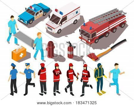 Rescue service workers their cars and equipment isometric set isolated on white background 3d vector illustration