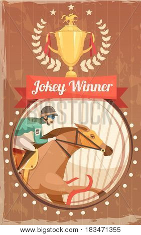 Jockey winner vintage poster with champion cup and rider on galloping horse design elements flat vector illustration