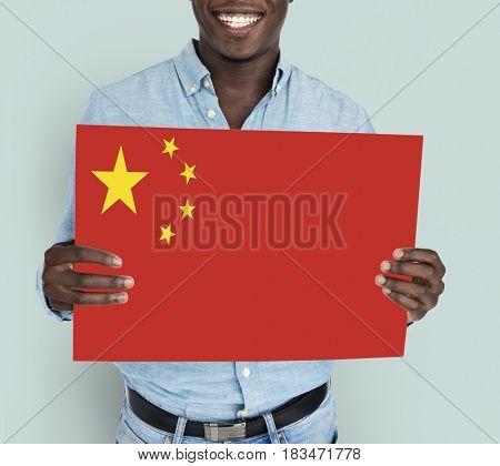 Man Hands Hold China Flag Patriotism