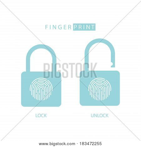 Padlock with fingerprint touch ID. Lock and unlock. Concept password, blocking, security. Vector illustration.