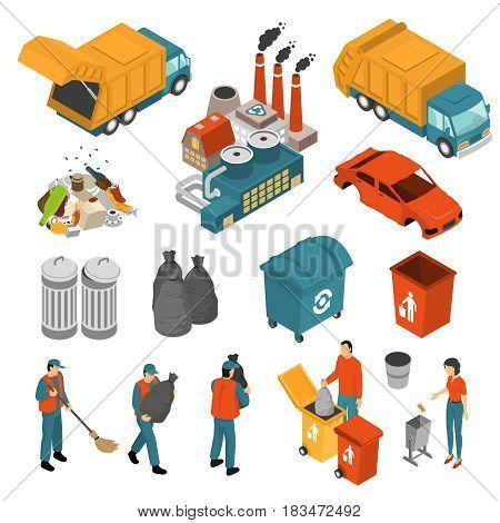 Isolated colored isometric garbage recycling icon set with garbage collectors and containers vector illustration
