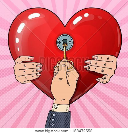 Mens Hand with Key from Womans Heart. Marriage Proposal. Pop Art retro vector illustration