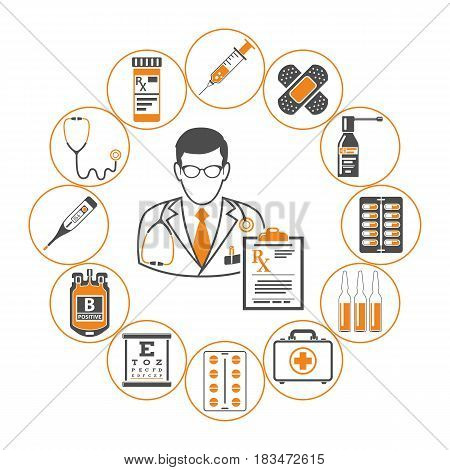 medicine and healthcare infographics with two color icons like Doctor, blood transfusion, prescription, syringe, thermometer. isolated vector illustration