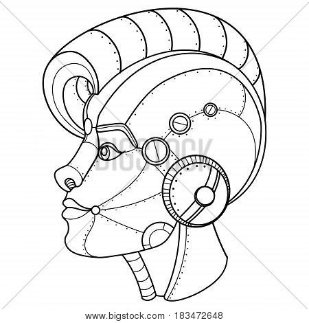 Steam punk style girl head. Robot girl. Coloring book vector illustration.