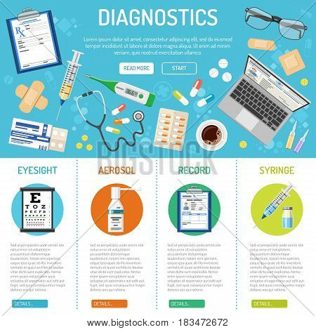 medical, healthcare and diagnostics banner and infographics with flat icons like eyesight, health treatment, record, prescription. isolated vector illustration