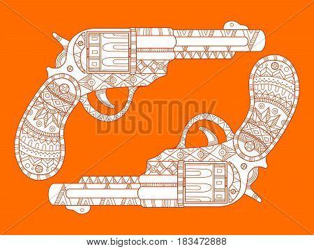 Revolver pistol fashion vector illustration. Lace pattern