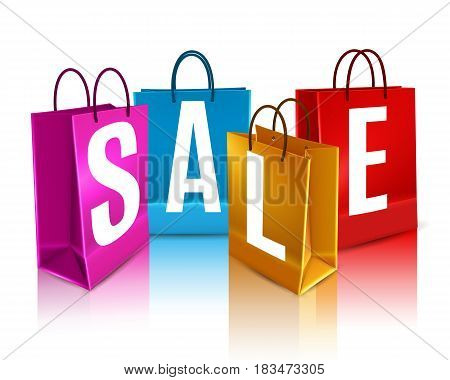 Sale poster with white lettering on colorful shopping bags with reflection 3d design vector illustration