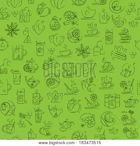 Tea seamless background with thin line icons for black, green or white tea