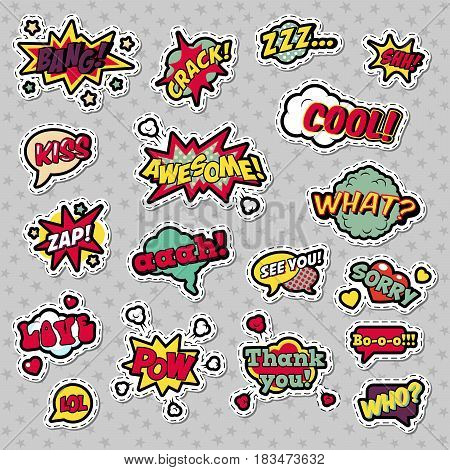 Pop Art Comic Speech Bubbles with Expressions Cool Bang Zap Lol. Vector Retro Background
