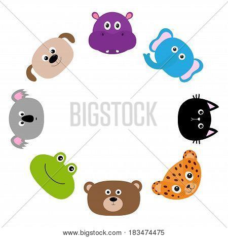 Cat jaguar dog hippopotamus elephant bear frog koala. Round circle frame Zoo animal head face. Cute cartoon character set. Baby children education. Flat design White background Isolated Vector