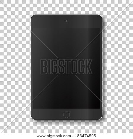 Touch tablet on transparent background. Template framework. Insert your picture. Vector illustration..