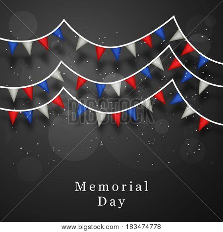 Illustration of set of elements blue and red abstract with text Memorial Day