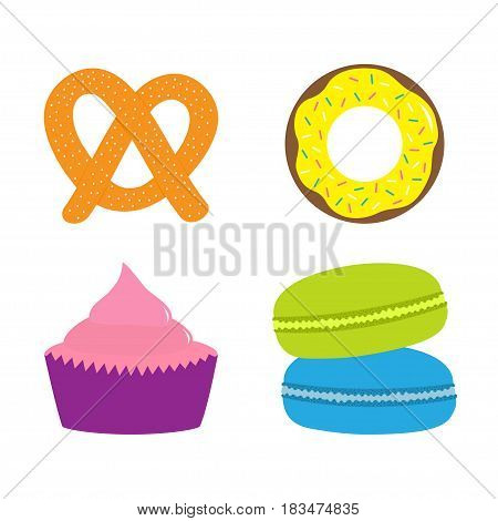 Soft pretzel donut cupcake macaron or macaroon icon. Sweet bakery pastry set. Cute cartoon collection. Fast food snack. Isolated. White background. Flat design. Vector
