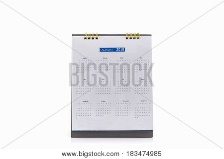 White paper desk spiral calendar 2018 on white background.