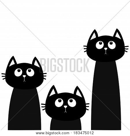 Three black cat set looking up. Friends forever. Cute cartoon character. Kawaii animal. Love Greeting card. Flat design style. White background. Isolated. Vector illustration